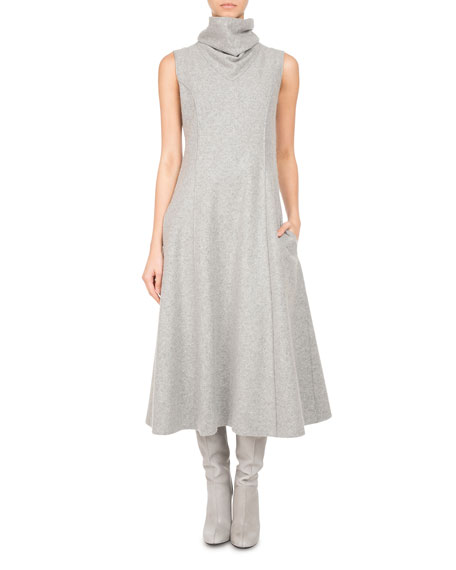 Pascal Millet Sleeveless Wool Jersey Turtleneck Midi Dress,