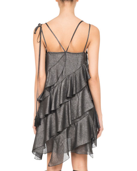 Metallic Ruffle-Trim Strappy Minidress, Silver