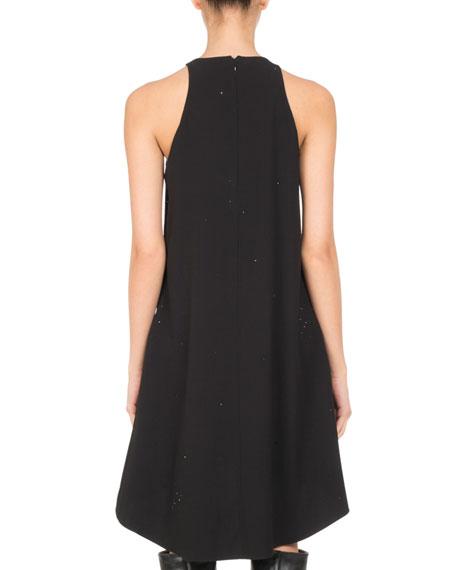 Crystal Strass Satin Crepe Tent Dress, Black