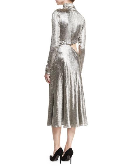Metallic Asymmetric Cutout Midi Dress