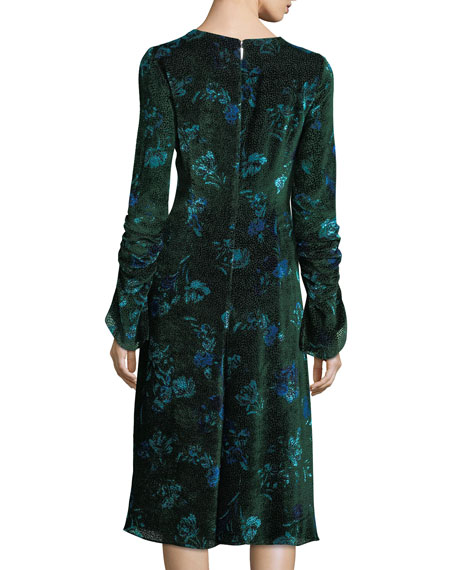 Prabal Gurung Shirred Floral Velvet Dress