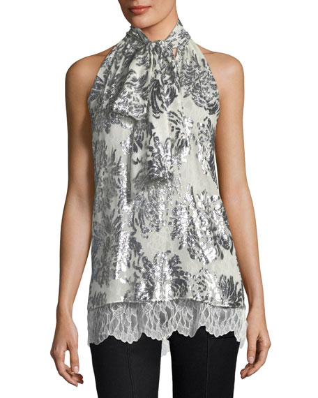 Metallic Flocked Silk Necktie Top