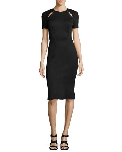 Short-Sleeve Cutout-Shoulder Sheath Dress, Black