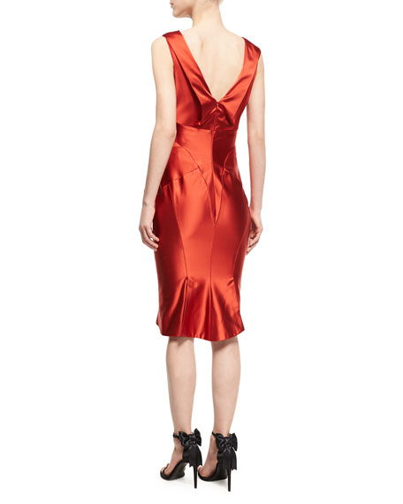 Satin Sheath Cocktail Dress
