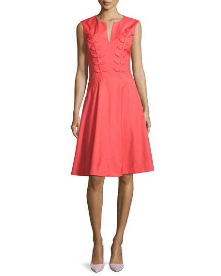 Zac Posen Fern-Embroidered Virgin Wool Fit & Flare