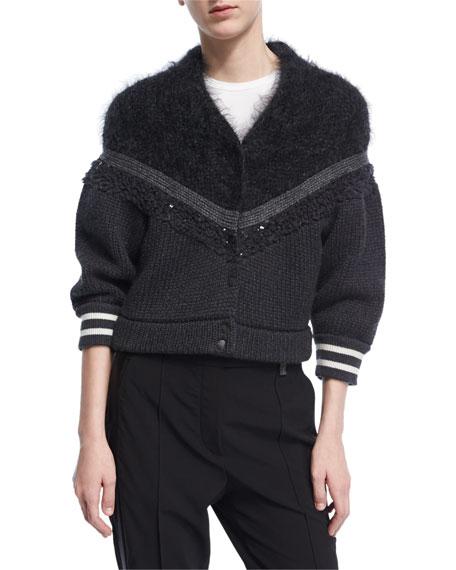 Paillette-Embellished Varsity Cardigan