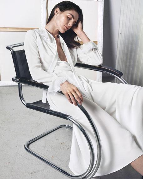 Long-Sleeve Tie-Neck Midi Dress