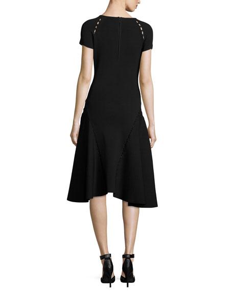 Bead-Embellished Short-Sleeve Fit & Flare Dress