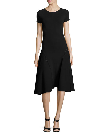 Zac Posen Bead-Embellished Short-Sleeve Fit & Flare Dress
