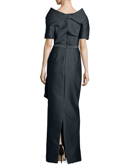Off-the-Shoulder Textured Column Gown