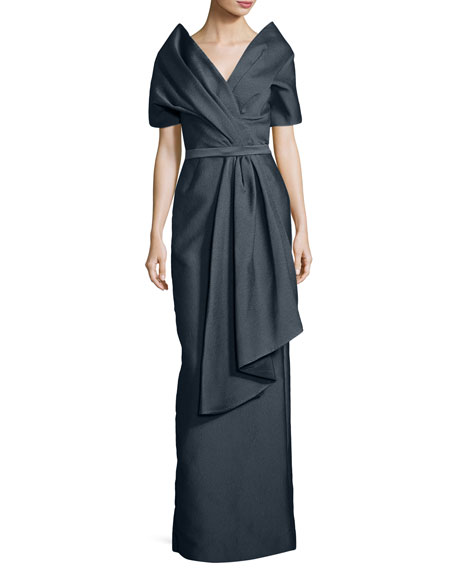 Zac Posen Off-the-Shoulder Textured Column Gown
