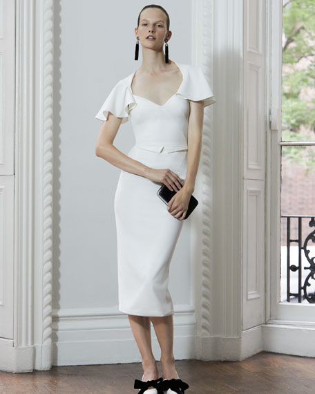 Flutter-Sleeve Cutout-Back Sheath Dress, Ivory