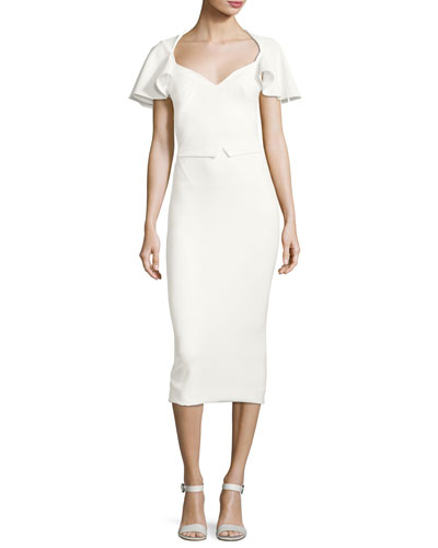Flutter-Sleeve Cutout-Back Sheath Dress, Ivory