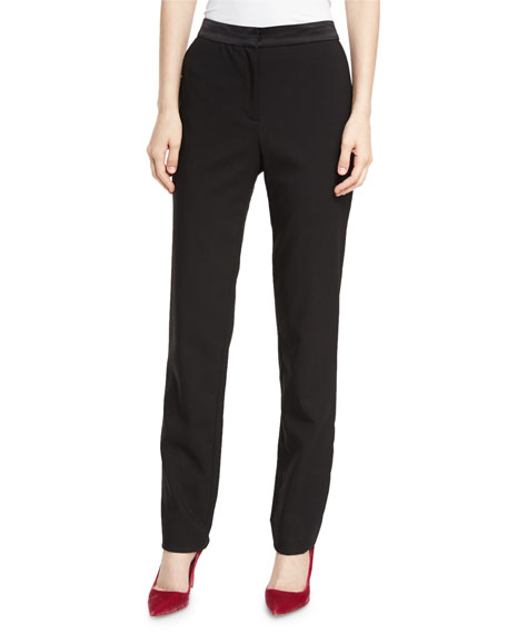 Stretch Virgin Wool Straight-Leg Pants