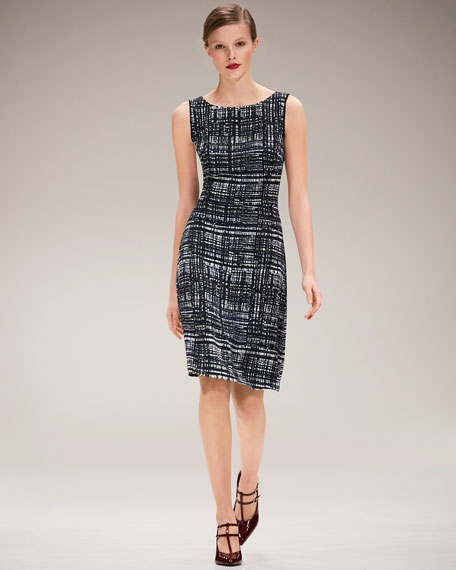 Weave-Print Sleeveless A-Line Dress