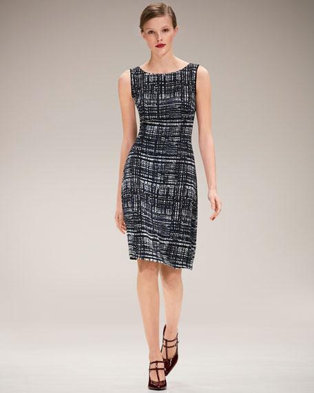 Weave-Print Sleeveless A-Line Dress