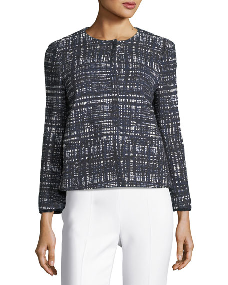 Weave-Print Collarless Jacket