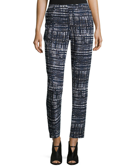 Escada Talas Weave-Print Ankle Pants