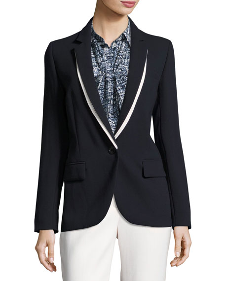 Escada Virgin Wool Crepe Boyfriend Blazer