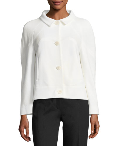Button-Front Cropped Wool Knit Jacket