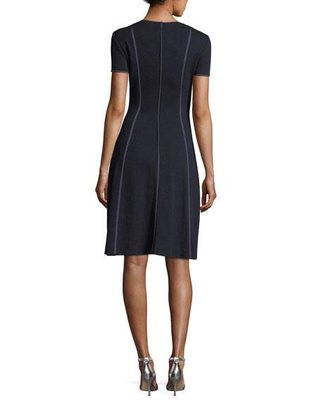 Fit & Flare Seamed Wool-Viscose Dress