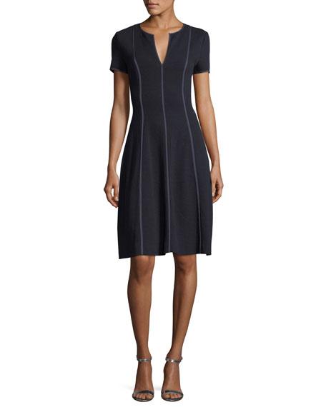 Escada Fit & Flare Seamed Wool-Viscose Dress