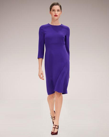 3/4-Sleeve Virgin Wool Crepe Dress
