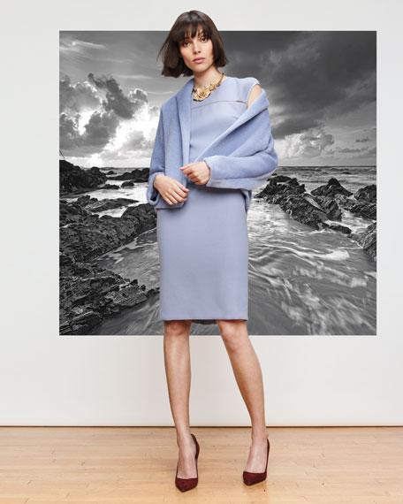 Cap-Sleeve Virgin Wool Crepe Sheath Dress, Lilac