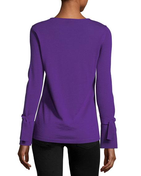 Crewneck Tie-Cuff Wool Pullover Sweater