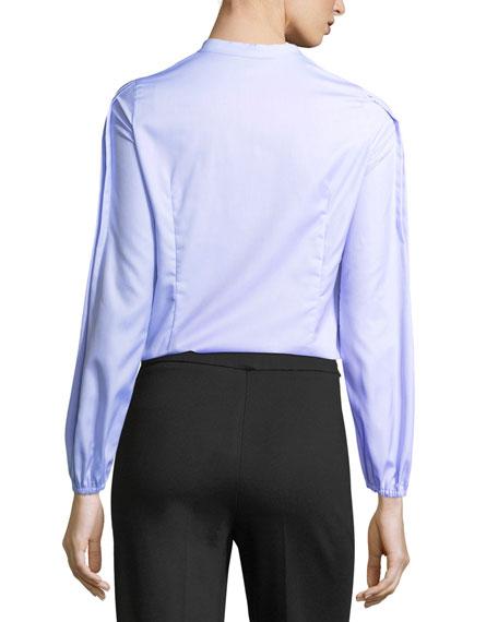 Pleated Cotton Band-Collar Shirt
