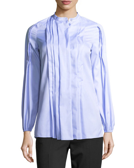 Pleated Cotton Band-Collar Shirt