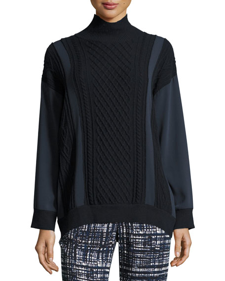 Paneled Cable-Knit Wool-Cashmere Pullover