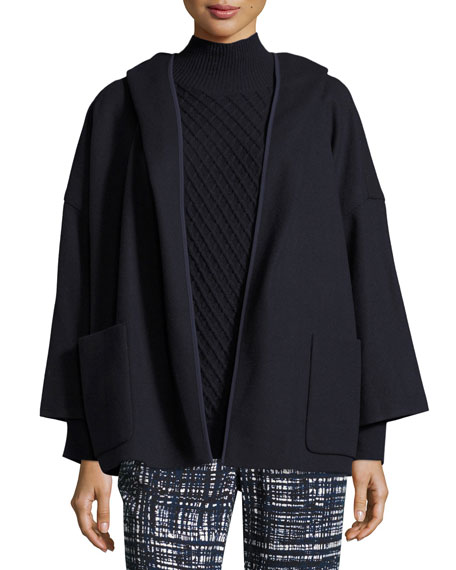 Virgin Wool Hooded Open-Front Coat