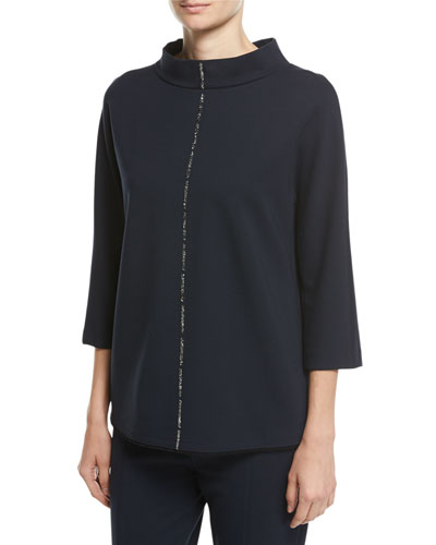 Crystal-Trim 3/4-Sleeve Pullover
