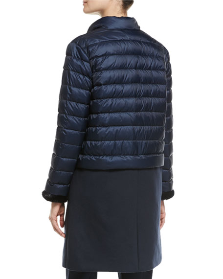 Wool-Paneled Puffer Coat with Mink Cuffs