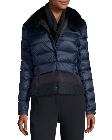Short Puffer Jacket with Fur Collar
