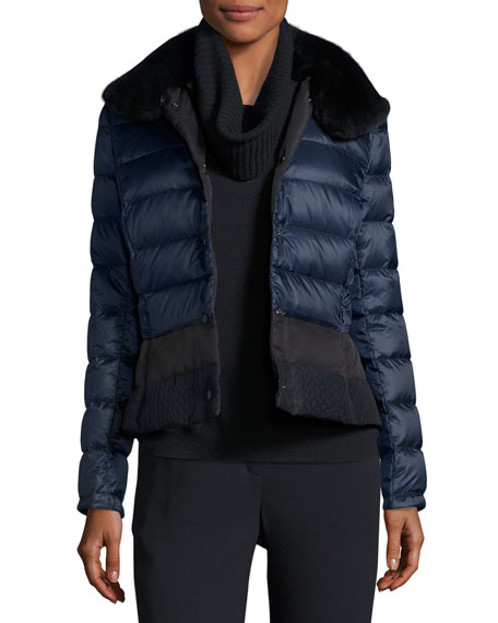 Escada Short Puffer Jacket with Fur Collar