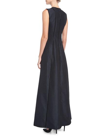 Cloquette Satin Jacquard Sleeveless Gown