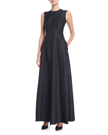 Escada Cloquette Satin Jacquard Sleeveless Gown