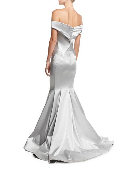 Off-the-Shoulder Metallic Mermaid Gown