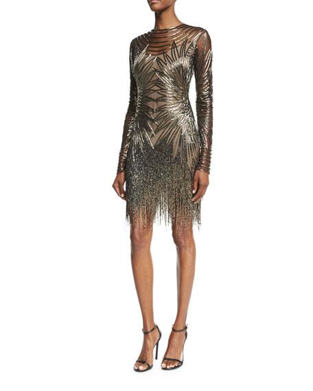 Naeem Khan Long-Sleeve Fringed Cocktail Dress