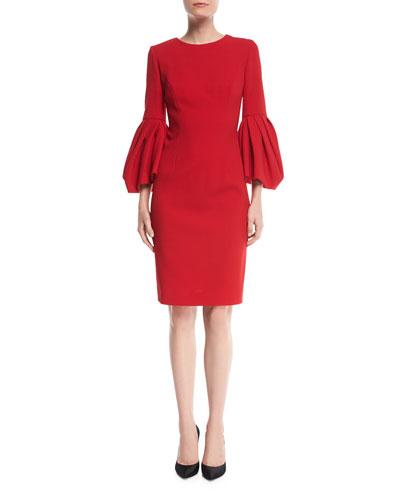 Bonded Crepe Peplum-Sleeve Dress