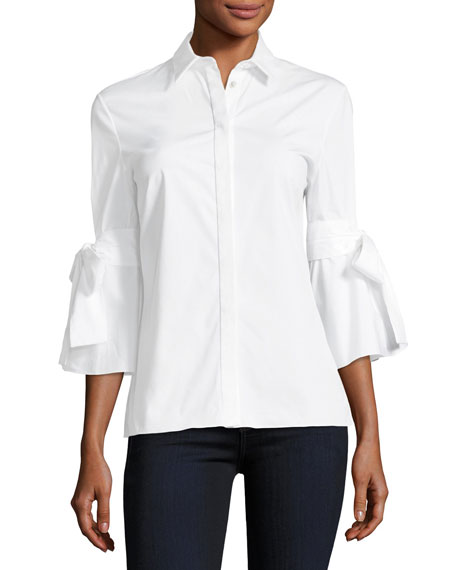 Carolina Herrera Tie-Sleeve Poplin Shirt
