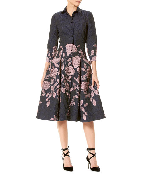 Elbow-Sleeve Floral Jacquard Shirtdress
