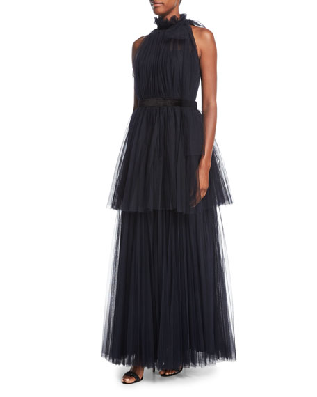 Carolina Herrera Tiered Tulle Halter Gown