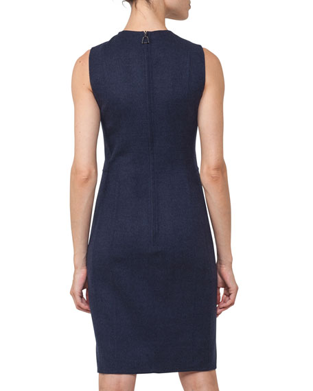 Sleeveless Reversible Bicolor Wool Dress