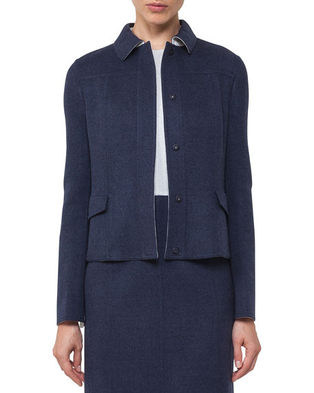 Akris Lena Reversible Bicolor Wool Jacket
