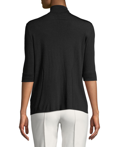 Mock-Neck 3/4-Sleeve Knit Pullover Top