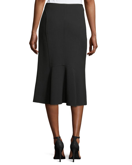 Godet-Back Stretch Virgin Wool Midi Skirt
