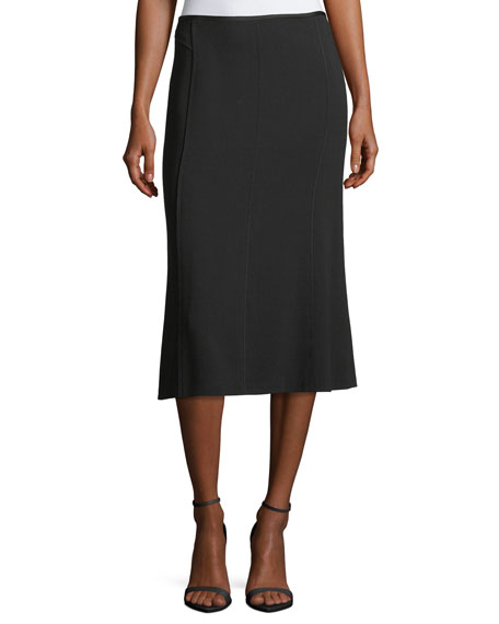 Escada Godet-Back Stretch Virgin Wool Midi Skirt